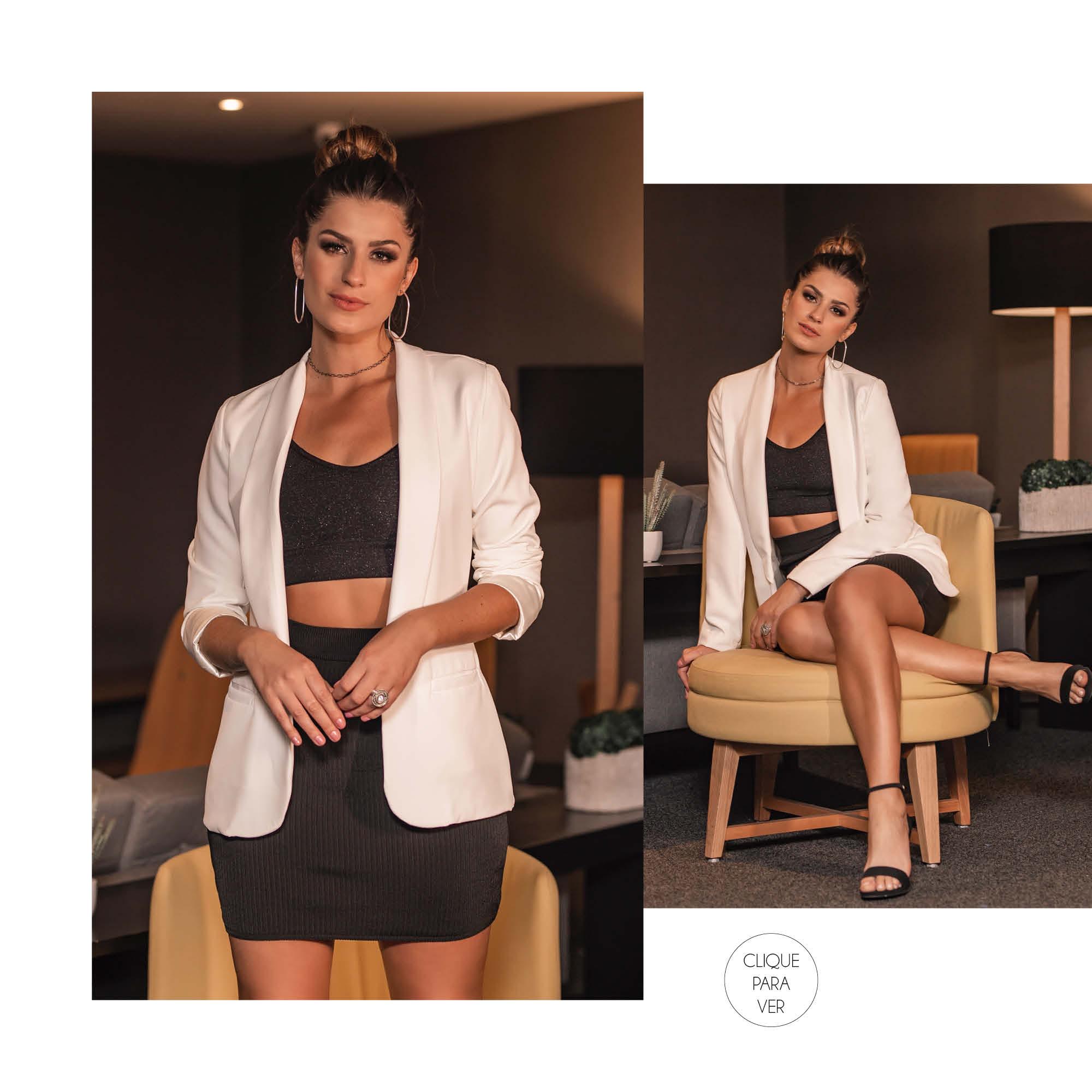 O uso do blazer ou de outra terceira peça deixa o look cool com uma pegada elegante.