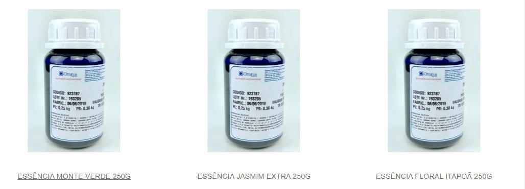 Essências químicas para aromatizantes