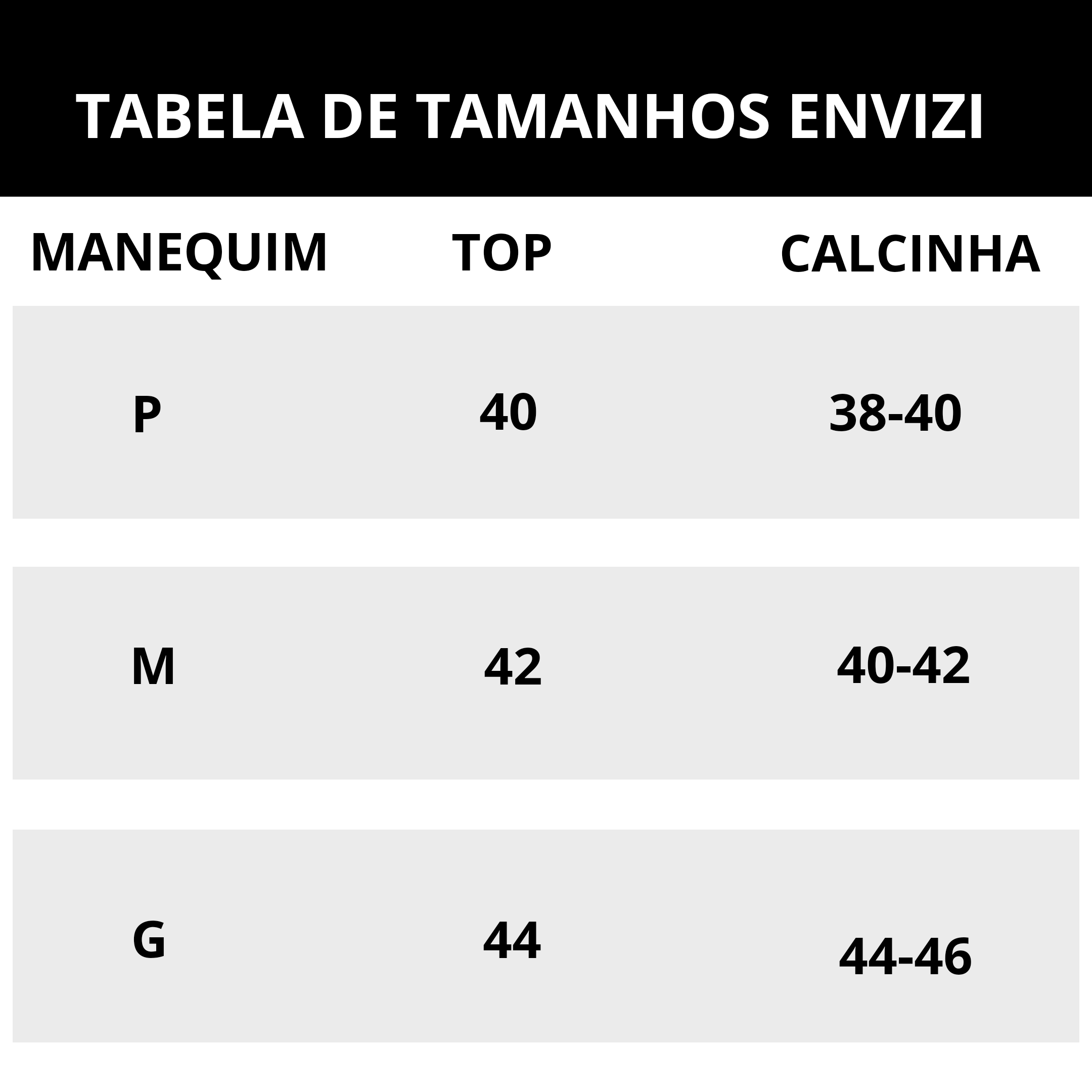 tabela de tamanhos do biquini asa delta envizi