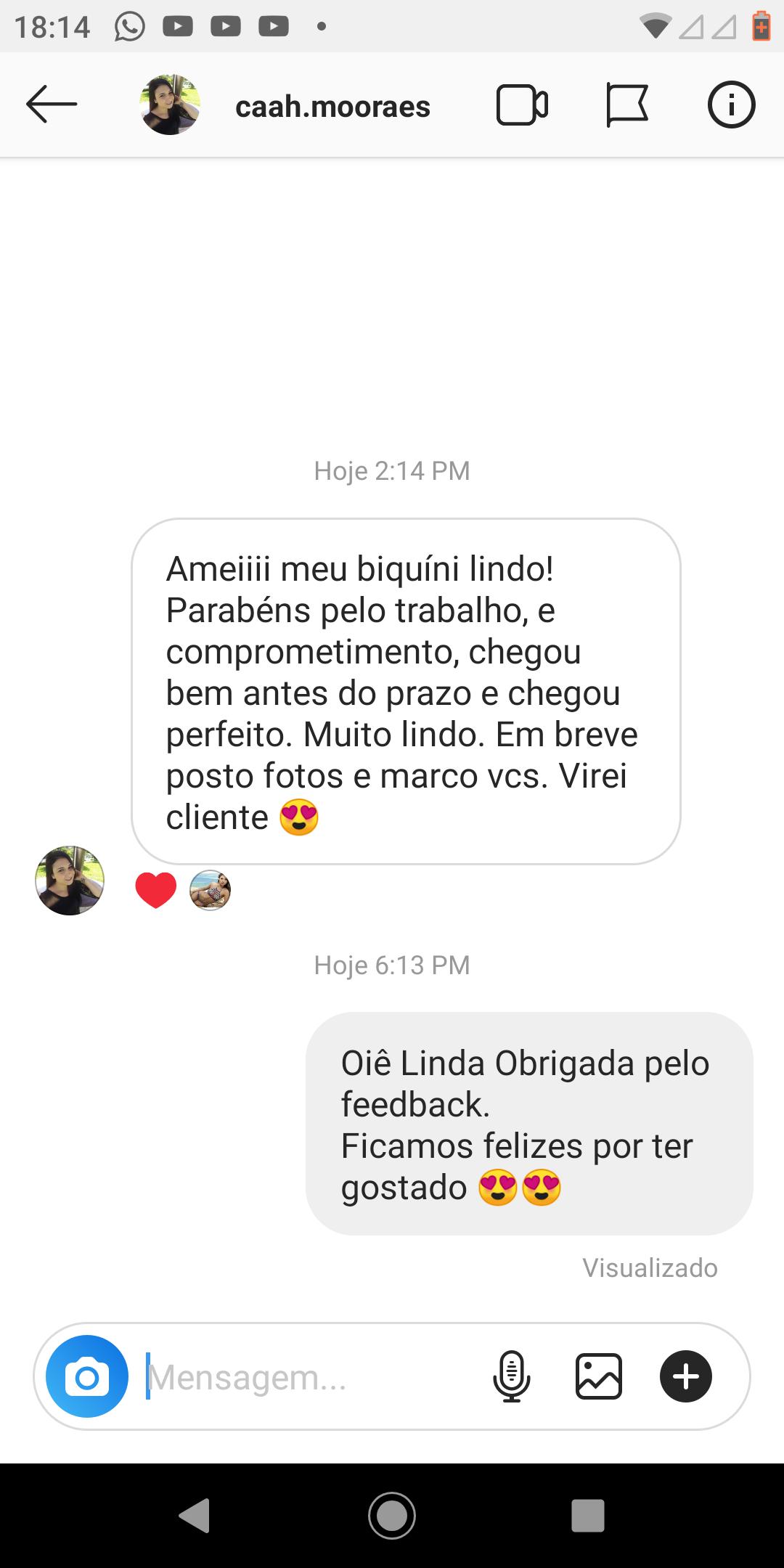 Depoimento de cliente no instagram sobre o produto biquini girassol da loja envizi. Ela diz, amei, lindo, parabéns pelo trabalho e comprometimento