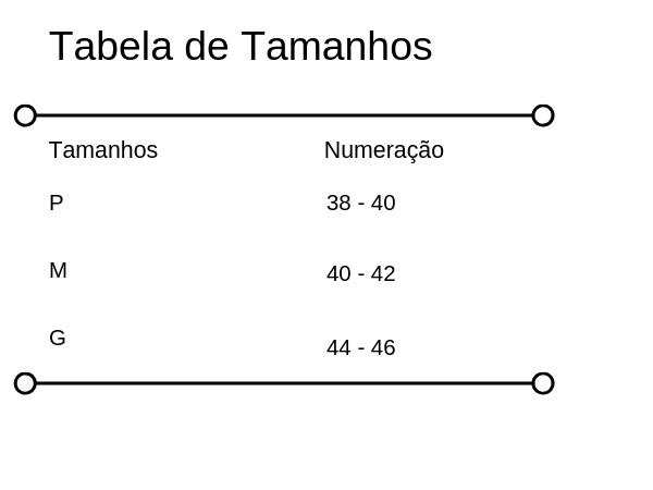 Tabela de medidas do biquíni cortininha