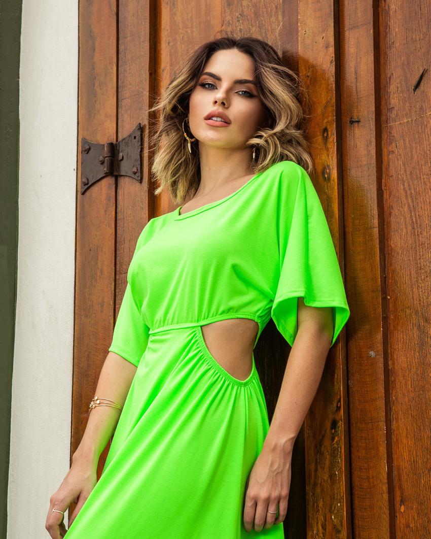 Vestido Midi em Malha Verde Neon