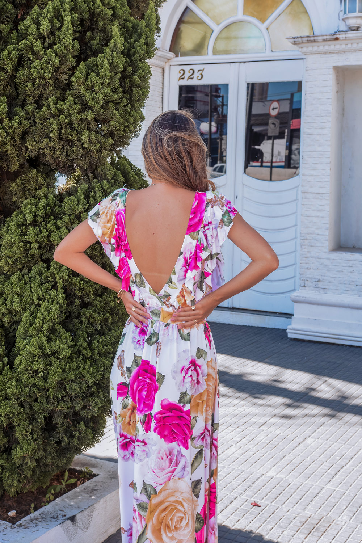 Vestido Longo Floral Fluit Detalhe Costas