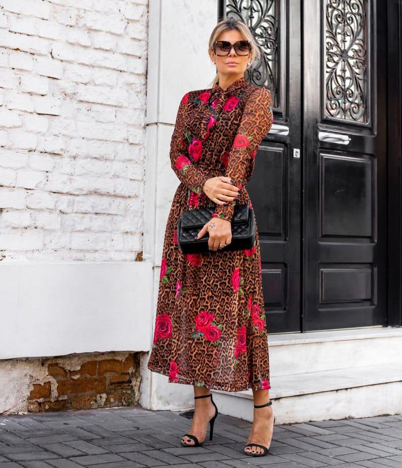 Vestido Longo Tule Onça Floral