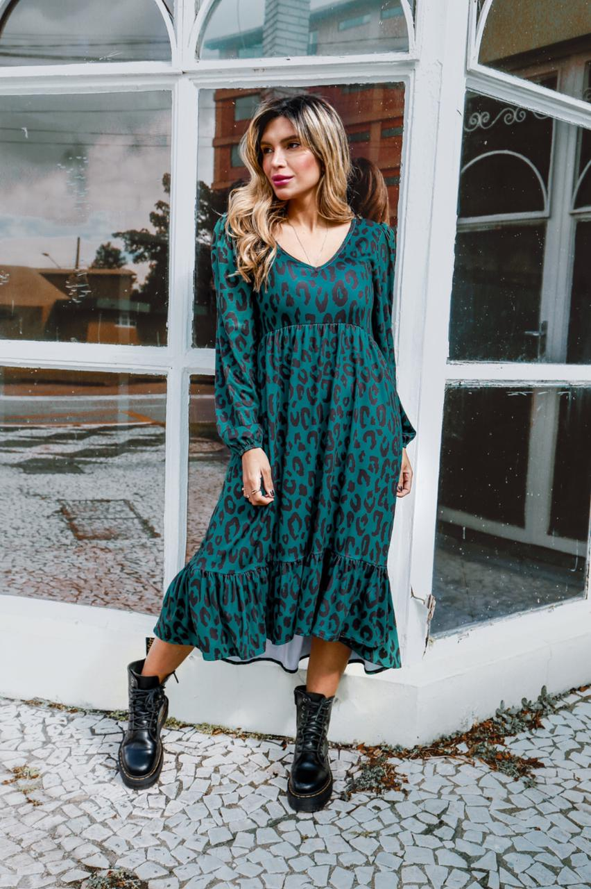 Vestido Zion Marrom Onça Verde
