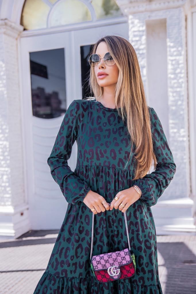 Vestido Zara Animal Print Verde