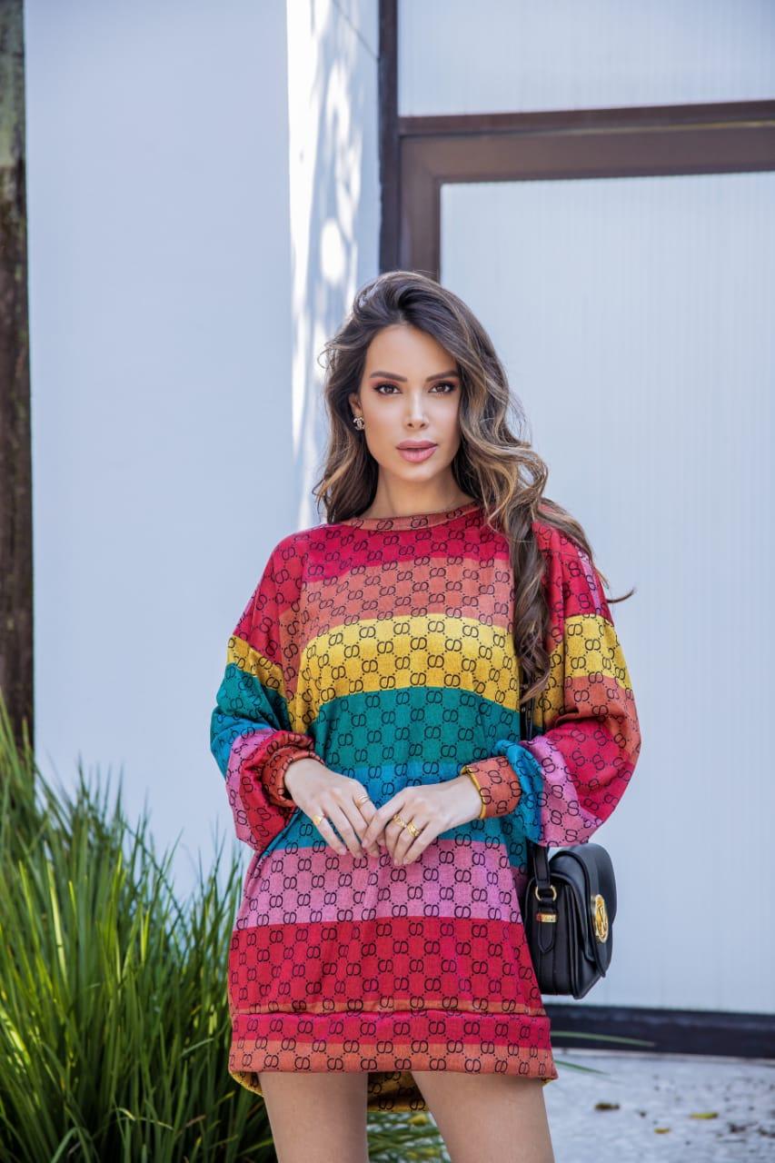 Vestido Blusão Malha Lãzinha Atacado de Moda