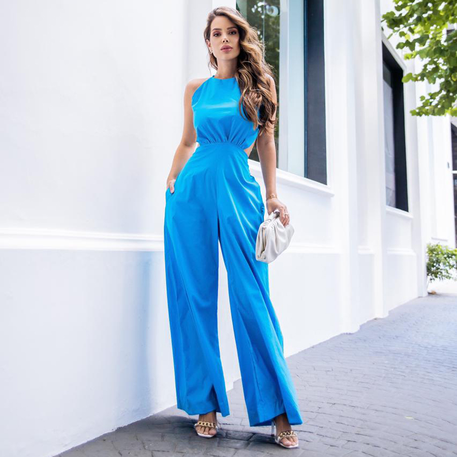 Macacão Tricoline Azul