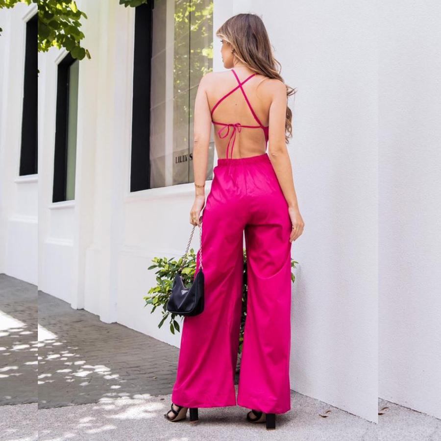 Macacão Pantalona em Tricoline Pink