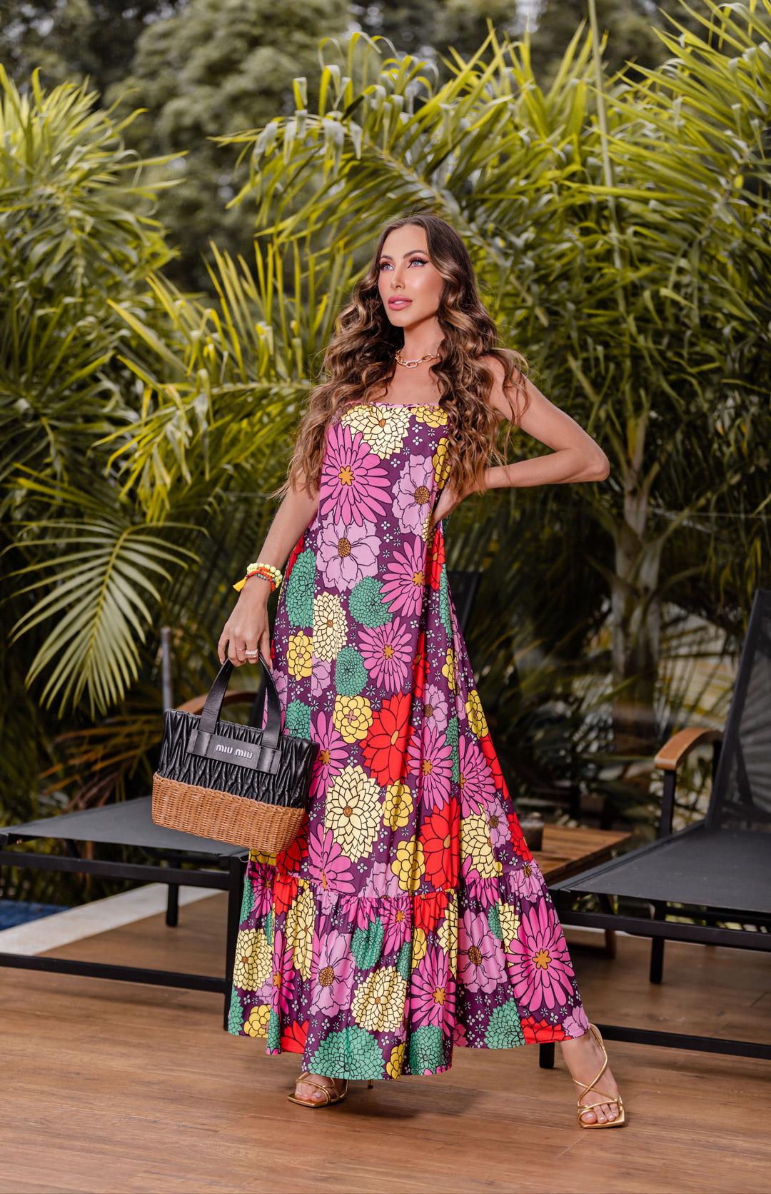 Vestido Regata Floral em Fluit de Poliamida