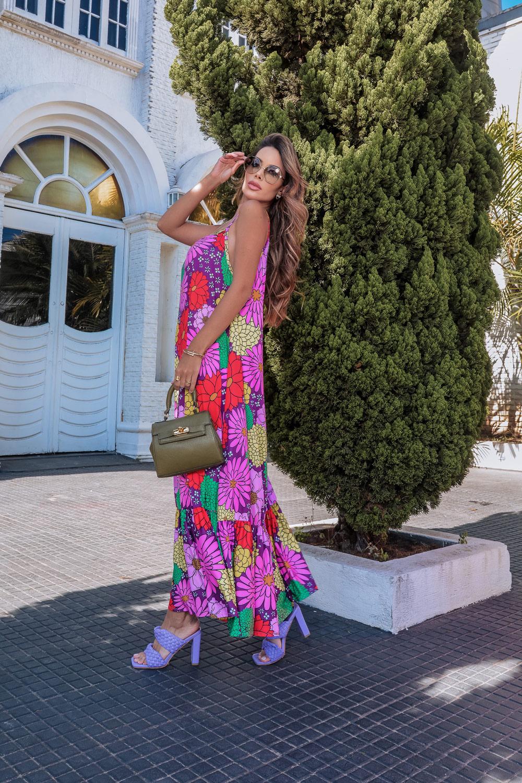 Vestido Floral Regata em Fluit de Poliamida