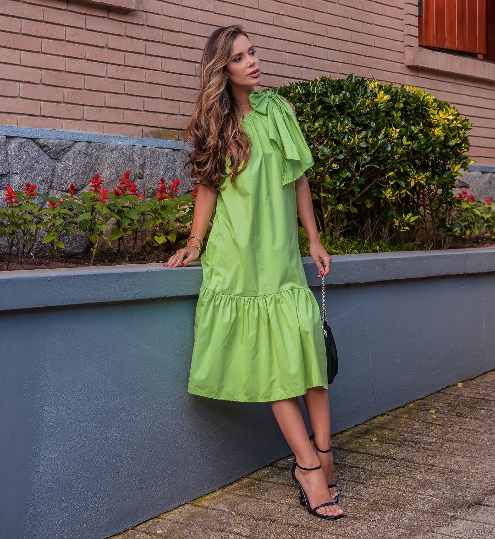 Vestido Laço Tricoline Verde
