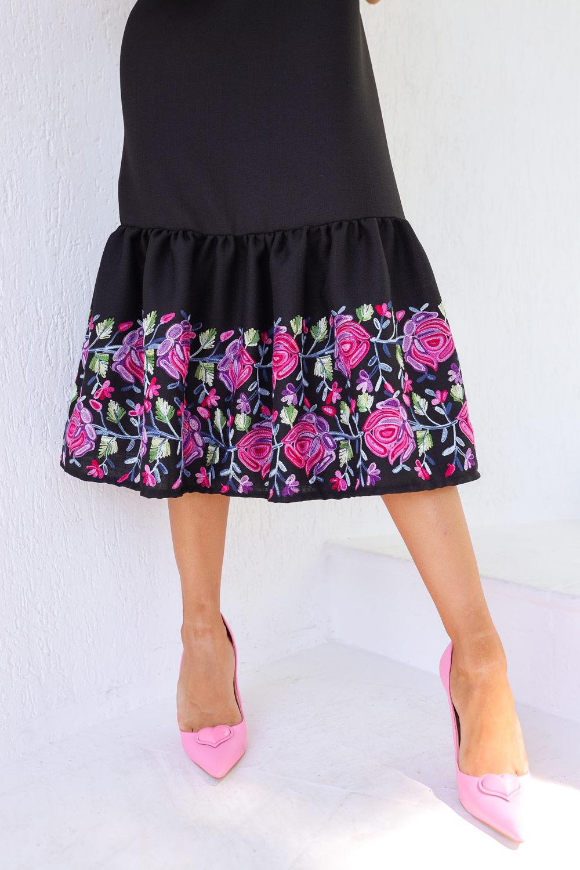 Detalje Bordado vestido Linho Preto