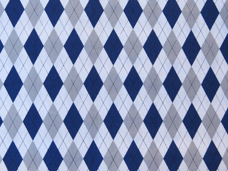 estampa losango azul e cinza