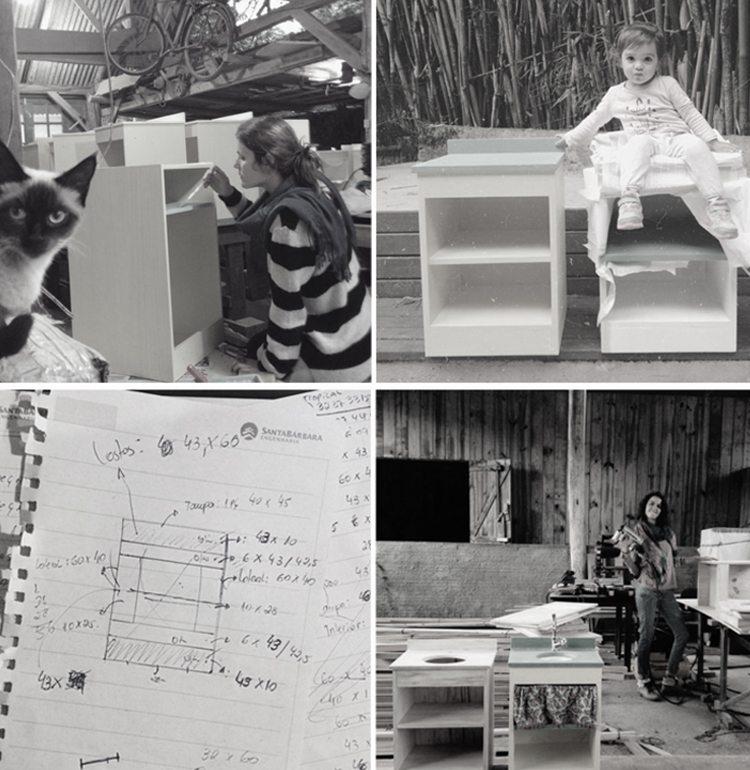 Carol e Bruna trabalhando no Ateliê, quando ainda montavam e pintavam as peças. Sofia na brincadeira de pintar sua cozinha.