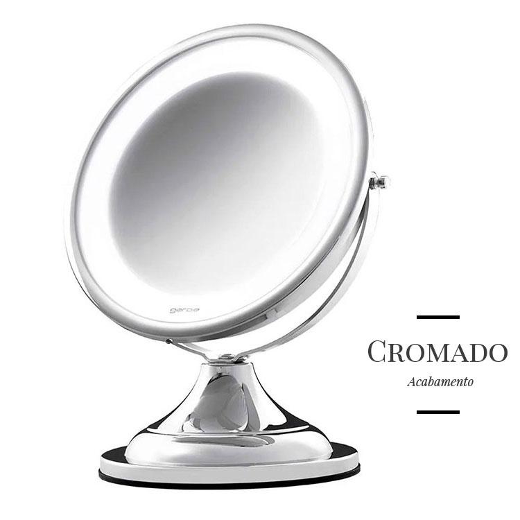 Espelho de Mesa Classique Lux Cromado com Luz e Aumento de 5x para Maquiagem