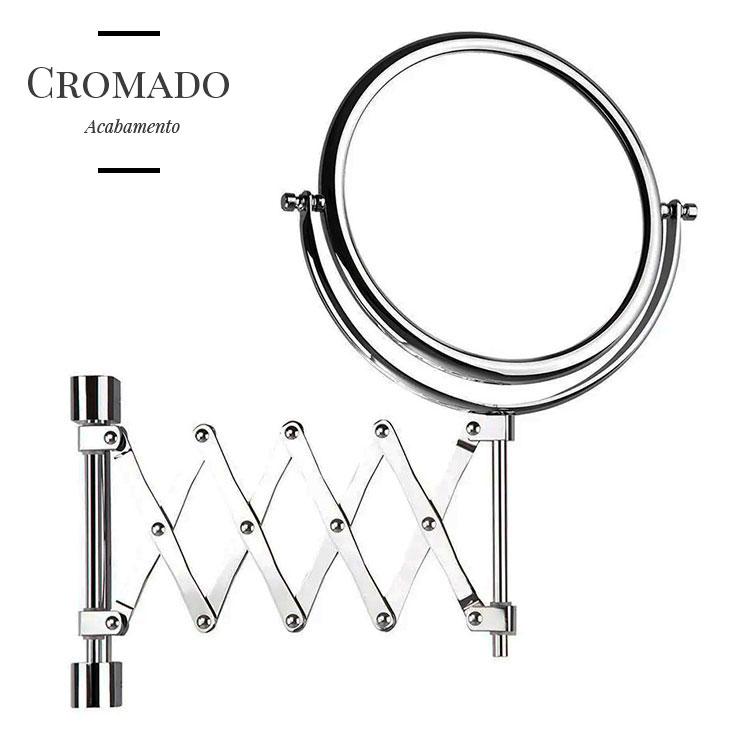 Espelho de Parede Flex Cromado com Braço Sanfonado e Aumento de 5x para Maquiagem
