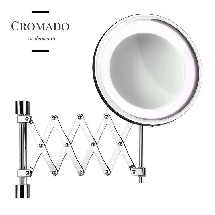 Espelho de Parede Flex Lux Cromado com Luz, Braço Sanfonado e Aumento de 5x para Maquiagem