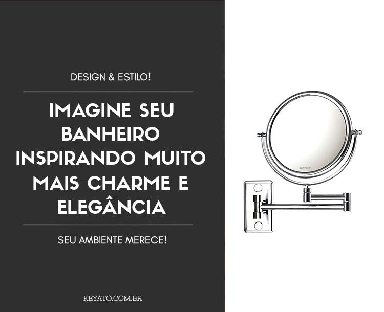 Espelho de Parede Mobile Cromado com Braço Articulável e Aumento de 5x para Maquiagem