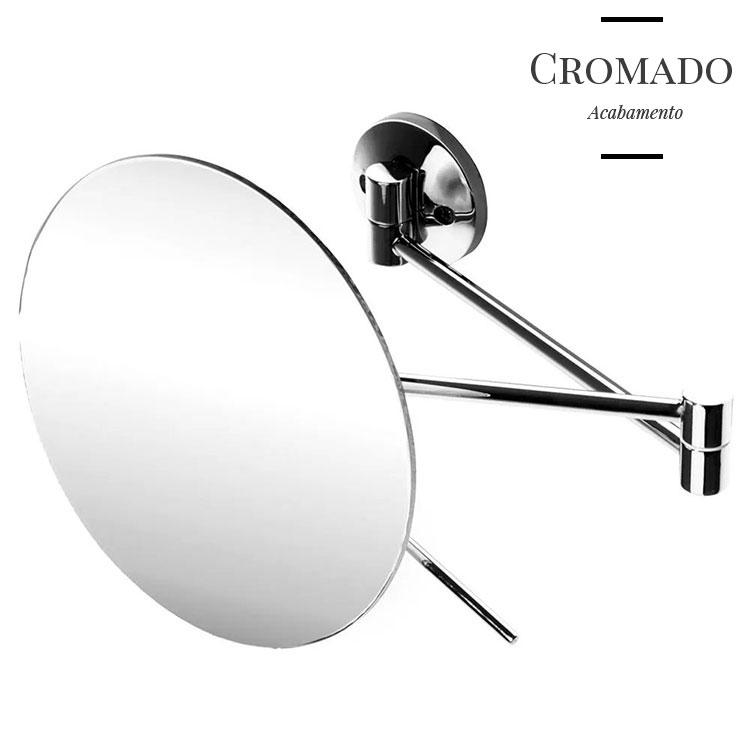 Espelho de Parede Slim Cromado com Braço Articulável e Aumento de 5x para Maquiagem