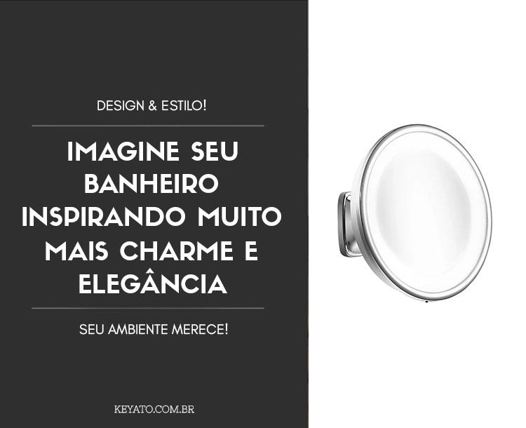 Espelho de Parede Visage Lux Cromado com Luz e Aumento de 5x para Maquiagem