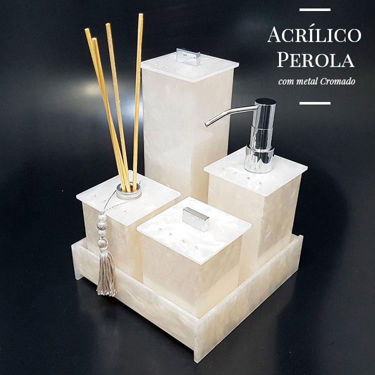 Kit Elegance Cristal com 4 Potes e Bandeja para Bancadas de Banheiros e Lavabos