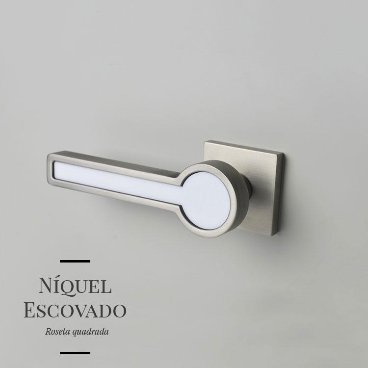 Maçaneta de Porta de Madeira Interna - Blend Acrílico Branco