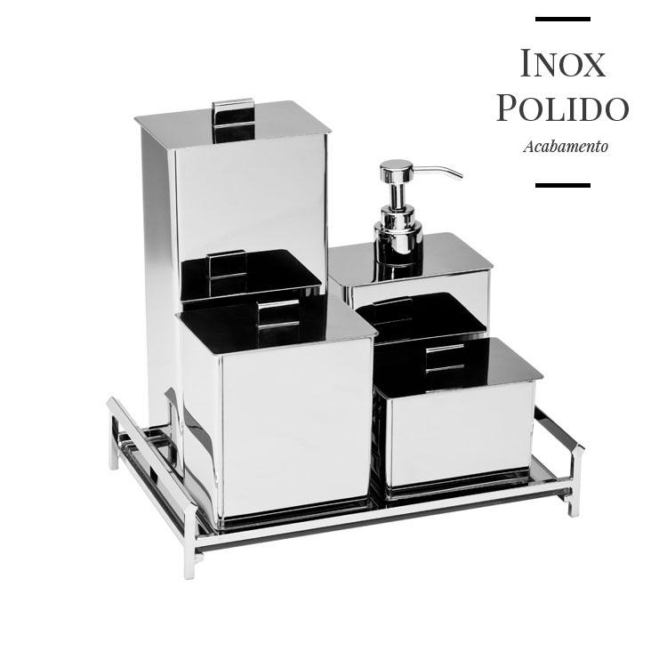 Kit Potes Retangulares em Inox Polido para Bancada de Banheiros e Lavabos