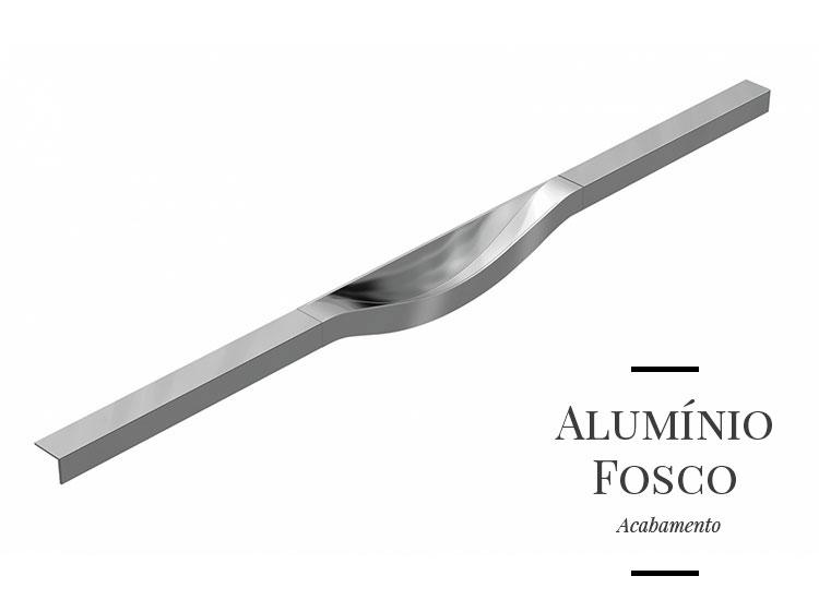 Puxador Fluid em Alumínio Fosco para Gavetas e Armários