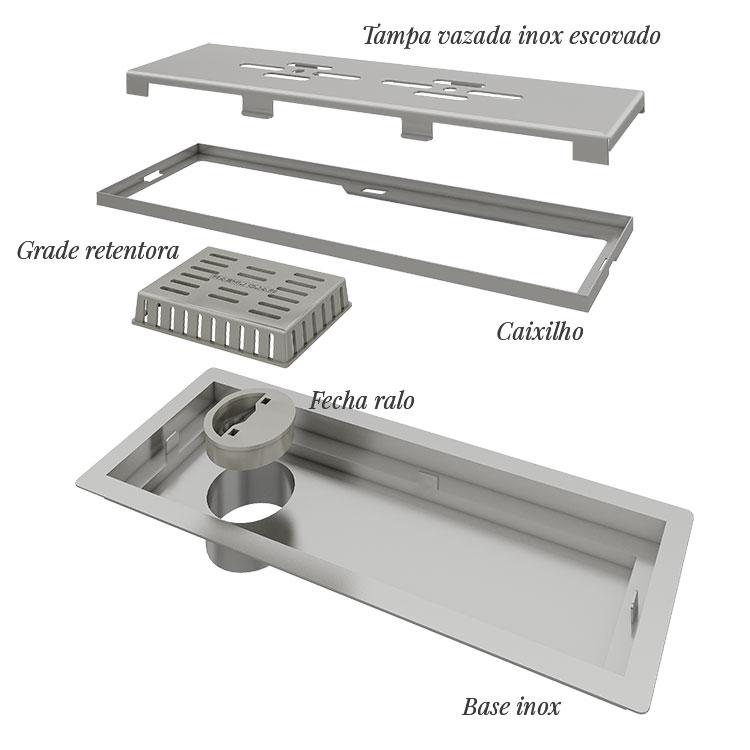 Ralo Linear Banheiro 25cm Domini Pro - linha Unique