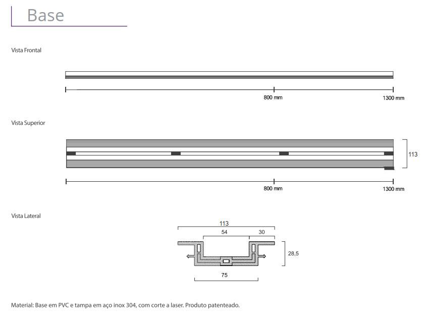 Ralo Linear Elleve - linha Infinity Slim (Tampa vazada inox escovado)