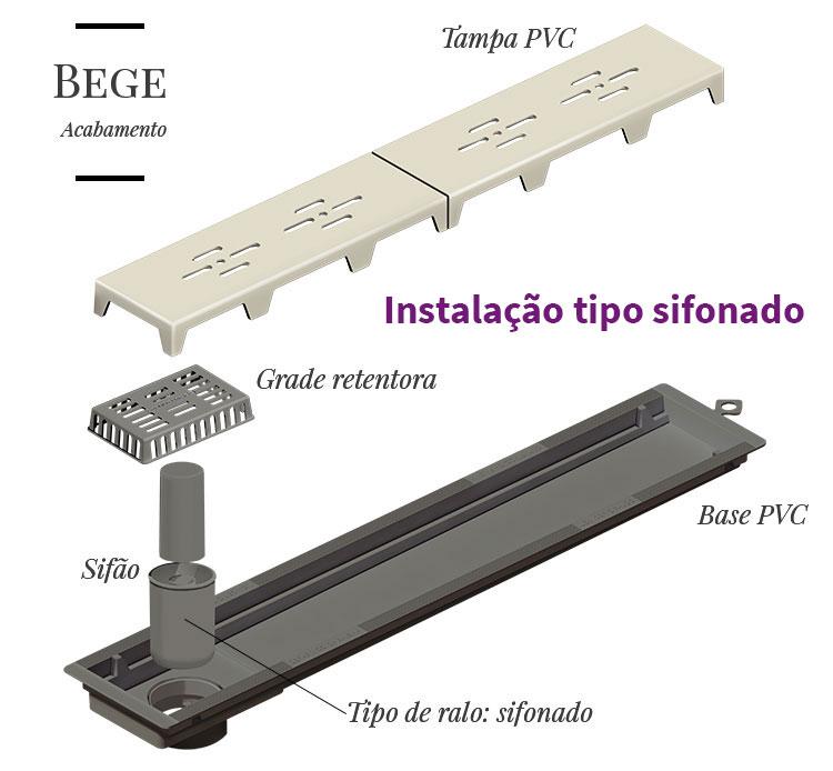 Ralo Linear Banheiro Novii 50cm PVC - Seco ou Sifonado