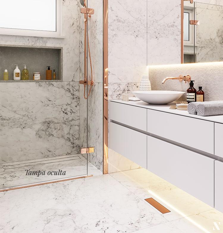 Ralo Linear Banheiro Elleve - linha Royal