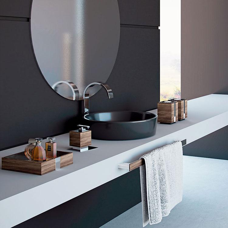 Toalheiro Simples Oriente Wood para Banheiros e Lavabos