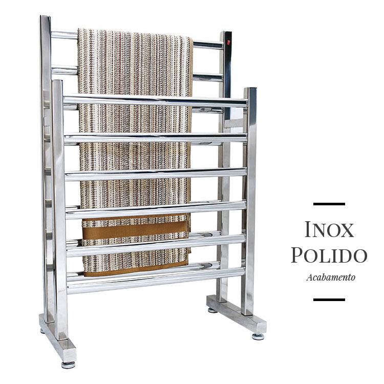 Toalheiro Térmico de Chão Duplo em Inox Polido 58x93cm KEDINX para Banheiros e Lavabos