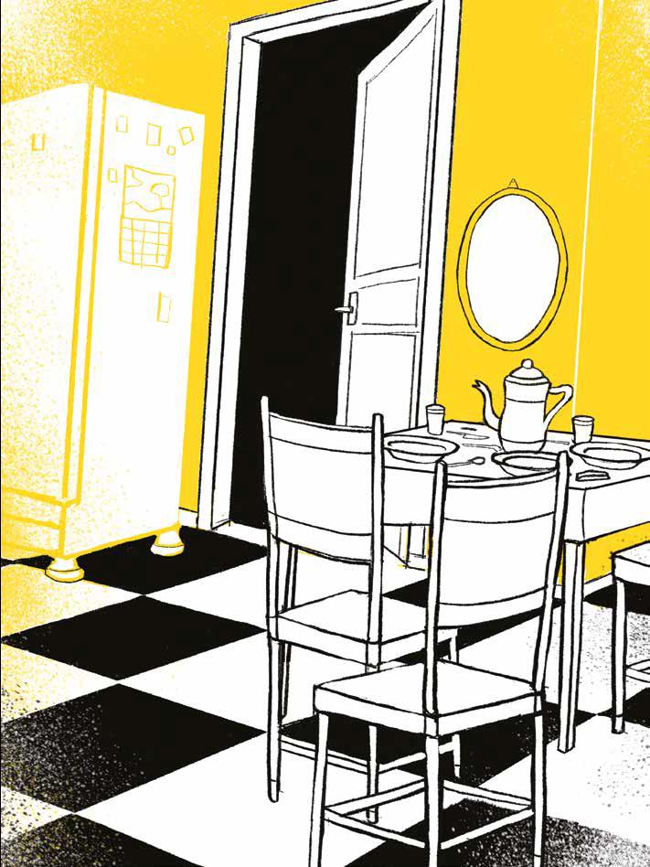 Copa, com geladeira, mesa, cadeiras e chão xadrez. Página 55 do livro metade pai, metade mundo. Imagem ilustrativa texto tarefas domésticas crianças.