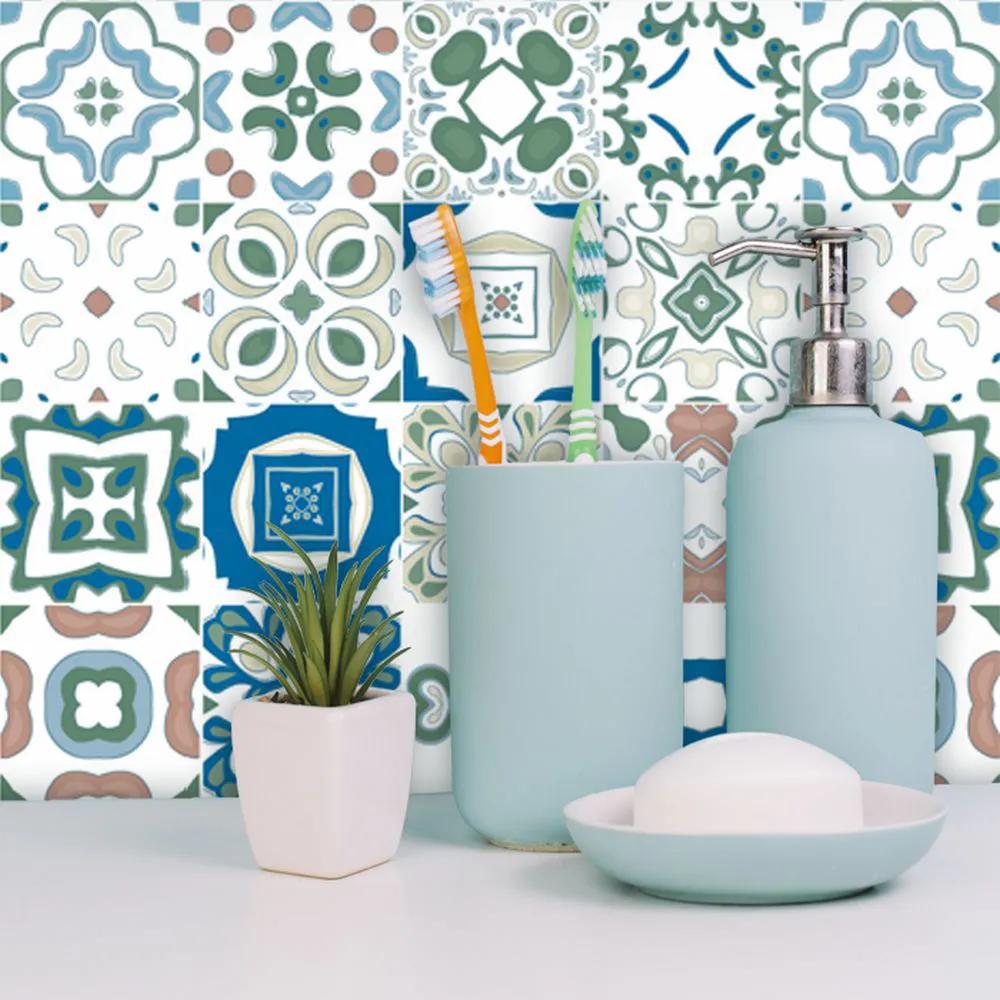 Papel de Parede Para Banheiro Azulejo Português Verde