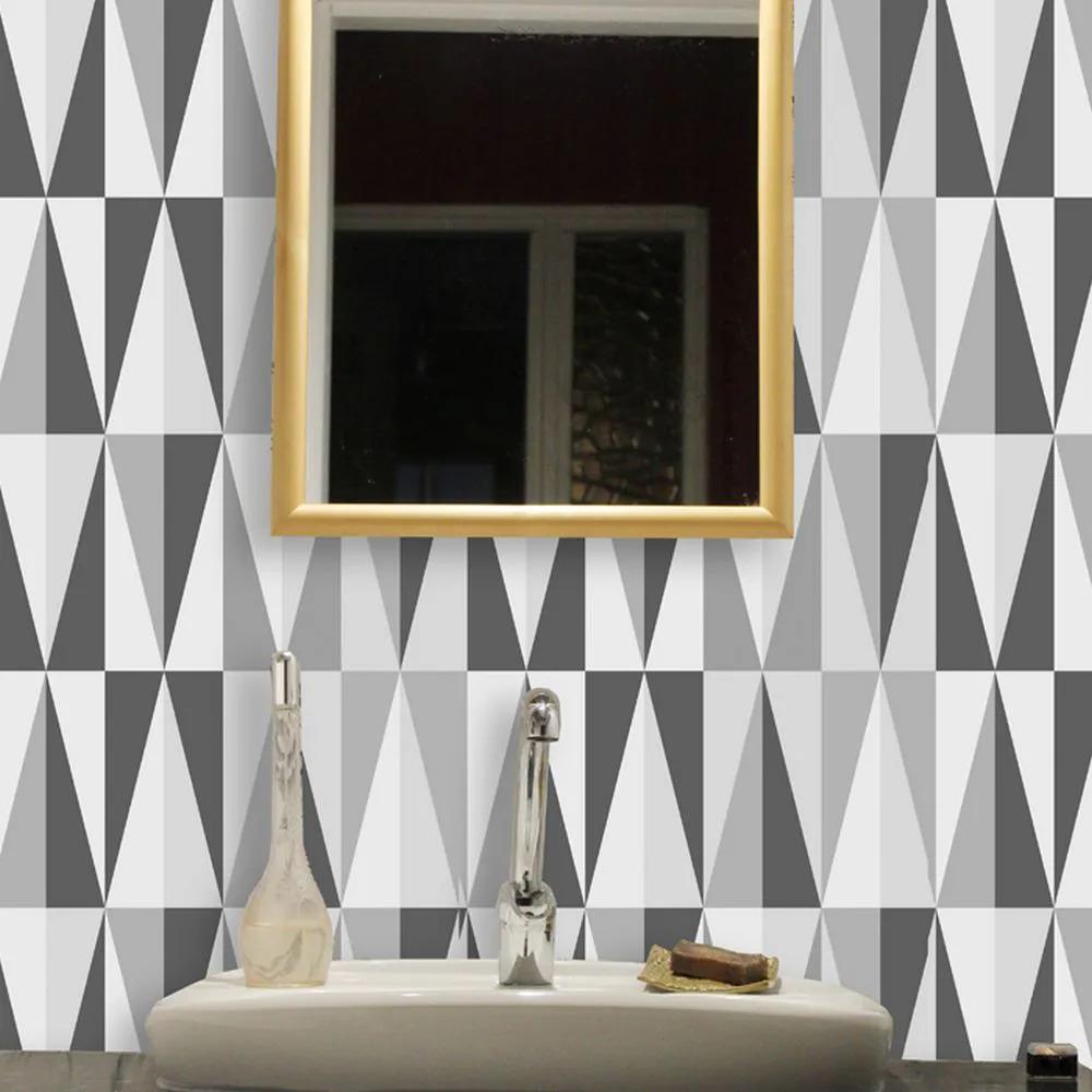 Papel de Parede Para Banheiro Geométrico Triângulos Impermeável