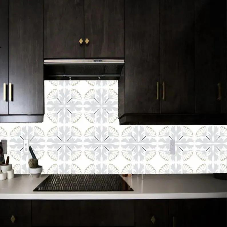 Papel de Parede Para Cozinha Azulejo Flores Branco/Cinza