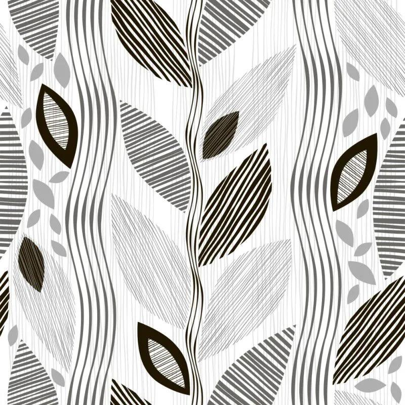 Papel de Parede Para Quarto Floral Preto e Branco
