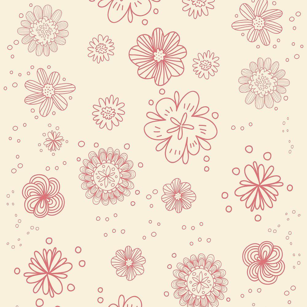 Papel de Parede Para Quarto Floral Rosa
