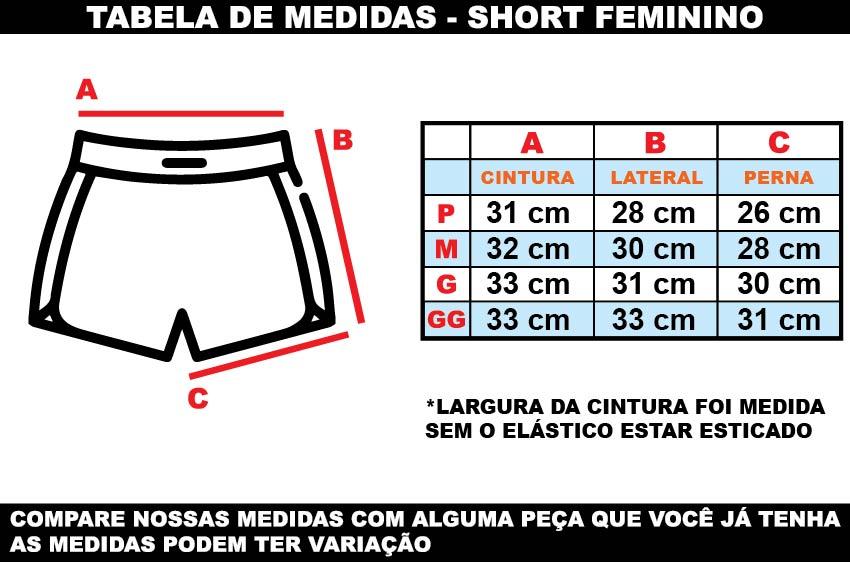 Tabela de medias short feminino