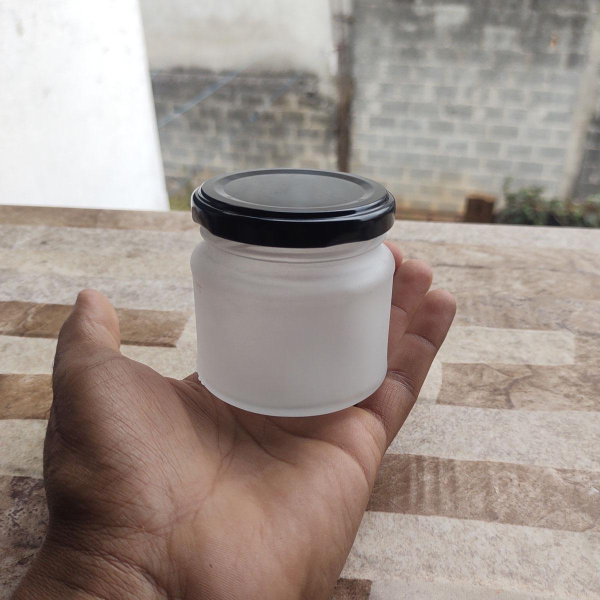 Pote de Vidro Mini Belém 150 ml C/ Tampa Jateado - cx 10 uni.