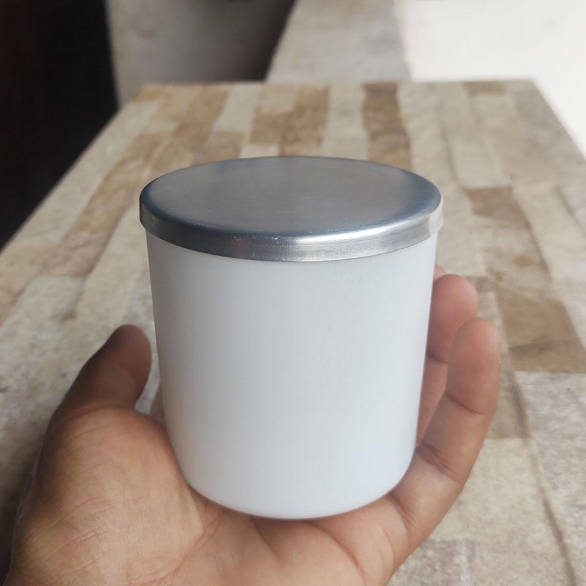 Copo Para Vela 265ml Vidro Branco Com Tampa de Alumínio- 6 uni