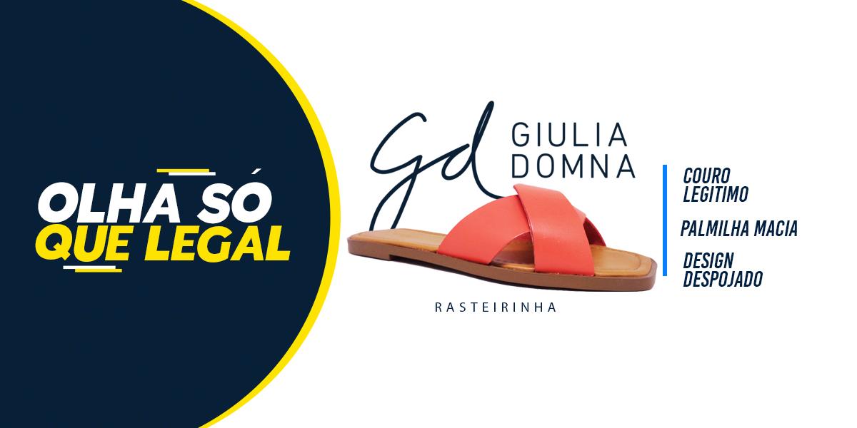 Rasteirinha feminina Giulia Domna couro legitimo