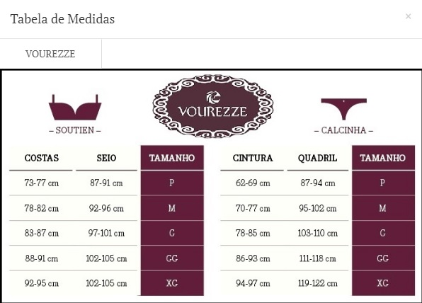 Tabela de Medidas da Vourezze