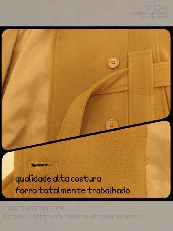 detalhe do casaco curto caramelo