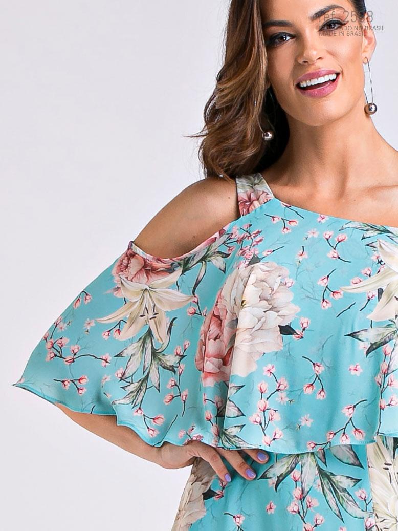 vestido estampado ombro a ombro