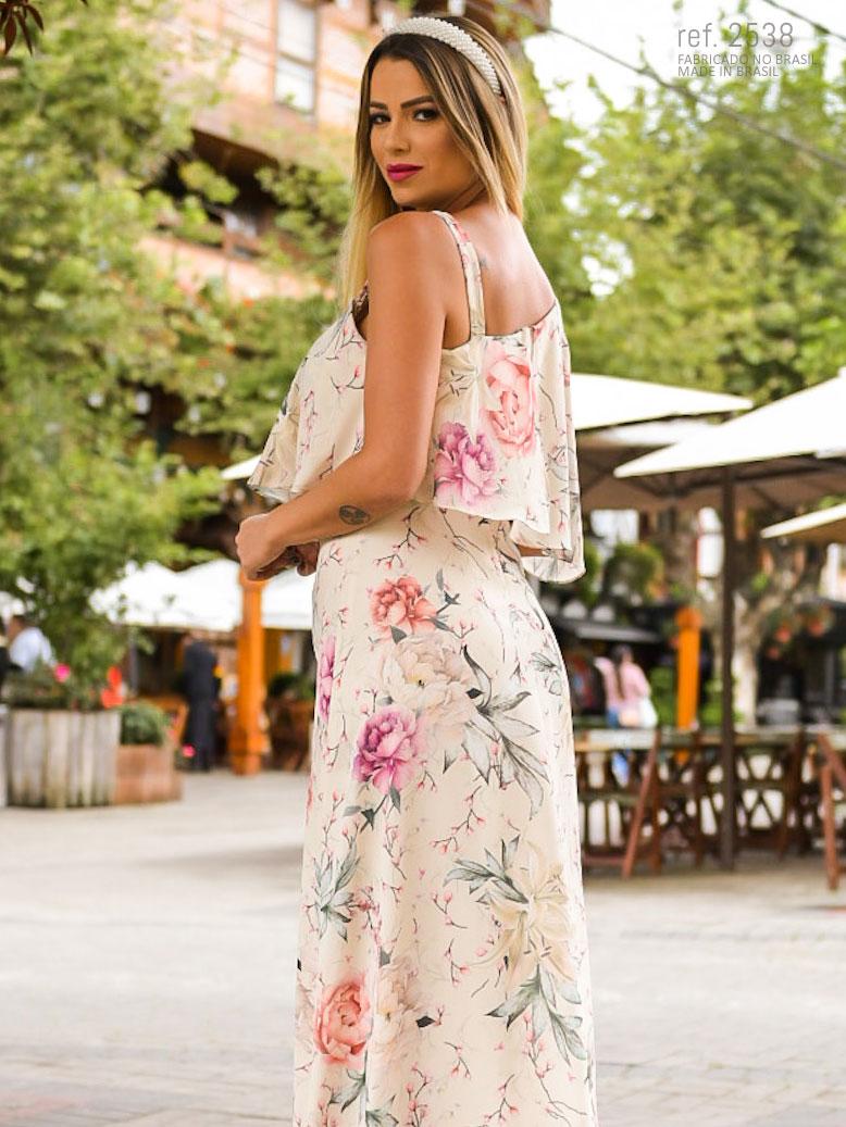 vestido longo estampado off white