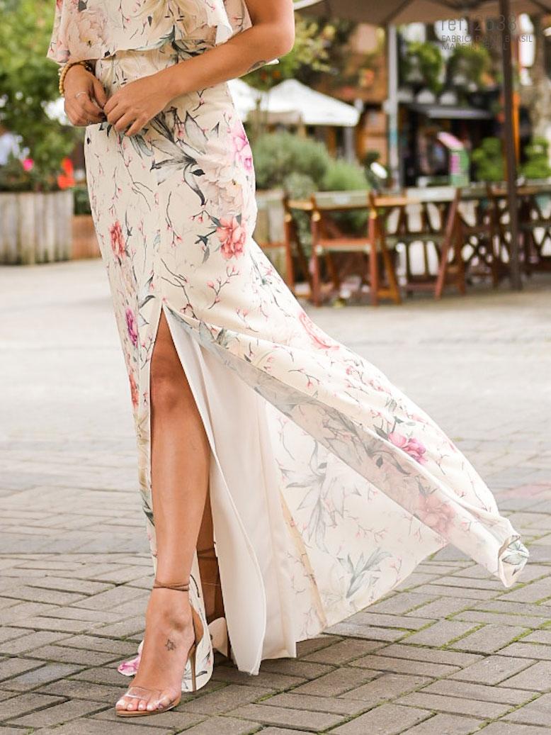 vestido estampado de festa